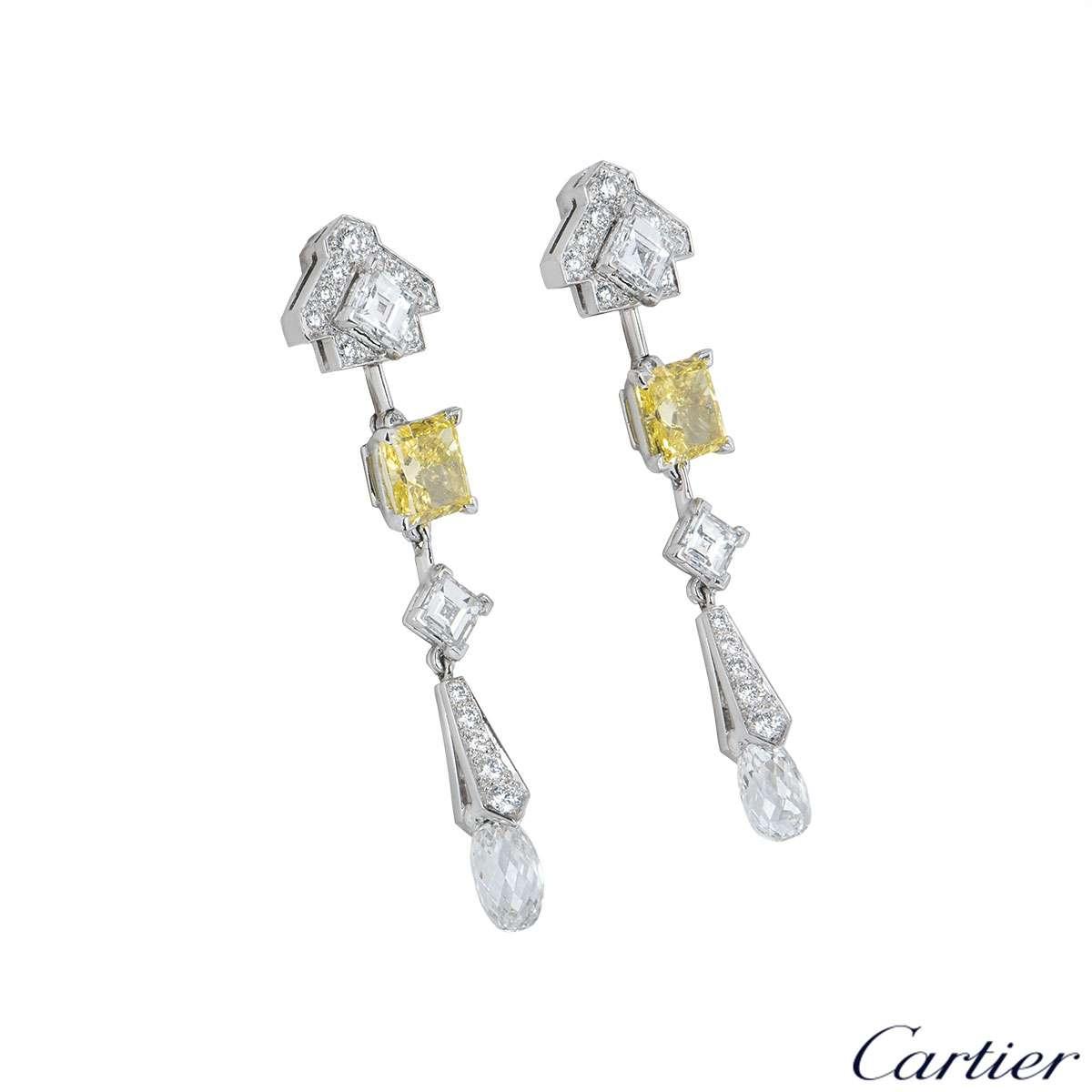 Cartier Platinum Mousseline Diamond Earrings